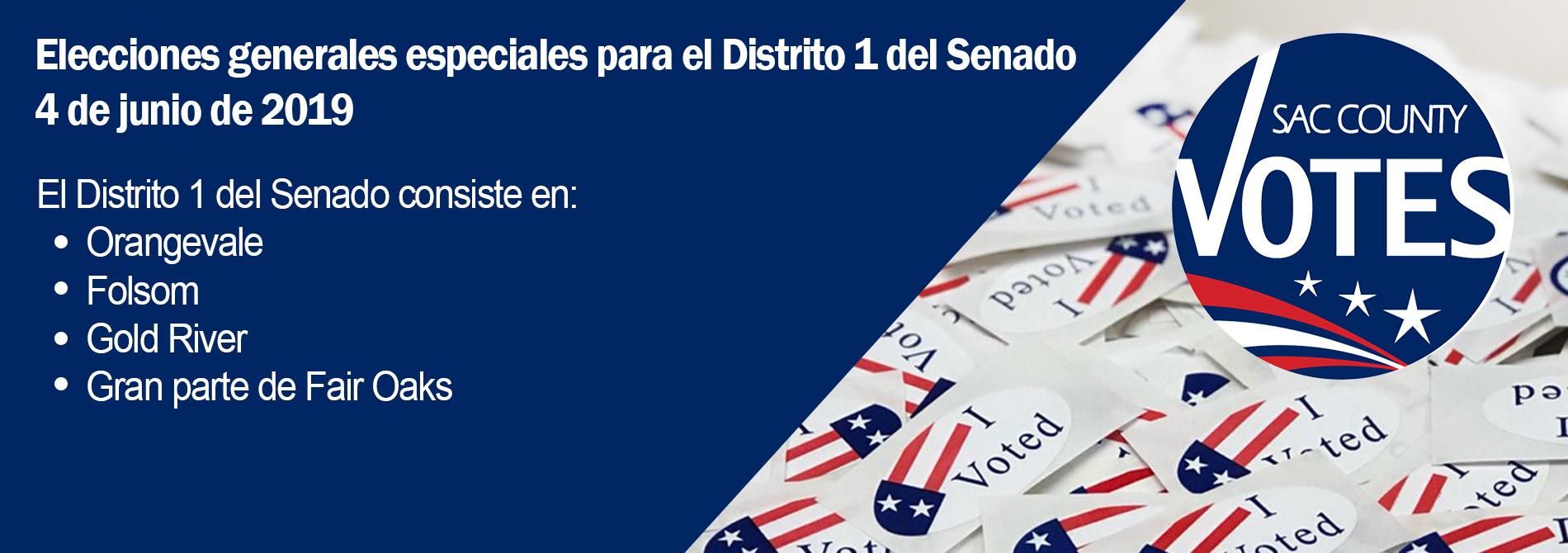 Elecciones generales especiales para el Distrito 1 del Senado 4 de junio de 2019